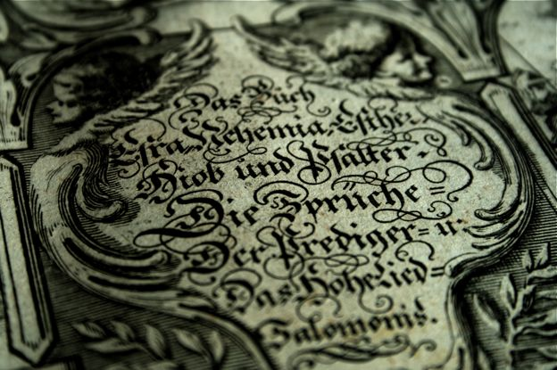 Intricate lettering in the middle of a drawing.