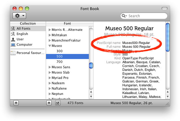 Image: Screenshot of Mac OS X Font Book demonstrating the Font Info view mode